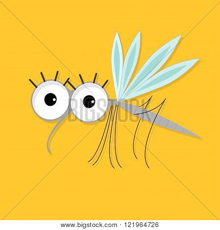 Mosquito. Cute cartoon funny character. Insect collection. Baby illustration. Yellow background. Flat design Vector
