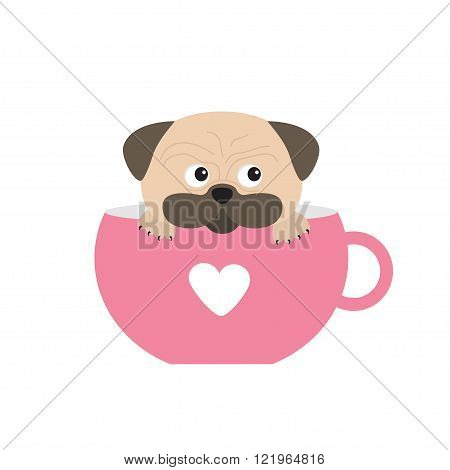 Pug dog mops paw sitting in pink cup with heart. Cute cartoon character. Flat design. Isolated. White background. Vector illustration poster
