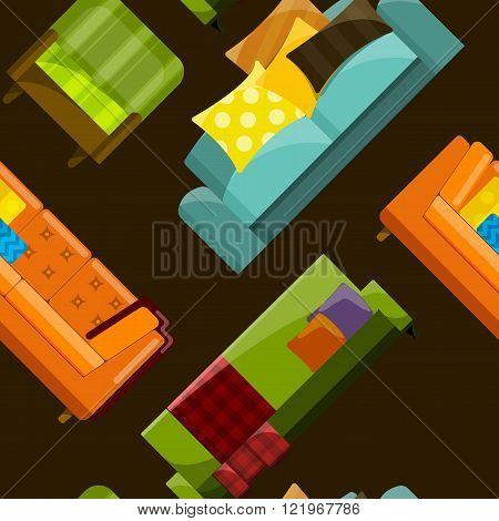Vector illustration of sofa in flat seamless pattern