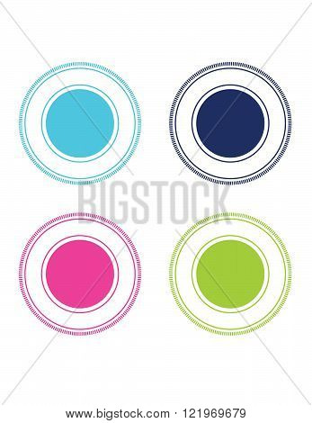 A collection of vector frames and attention grabbers in various colours