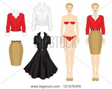 Paper doll with clothes. Body template. Set of template paper clothes. Various style clothes. Clothes for office, clothes for holiday. Pretty girl in red cardigan, white blouse, beige skirt and shoes.