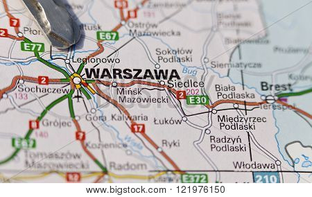 Closeup of the region of Warsaw, Warszawa on a colored map, keys.