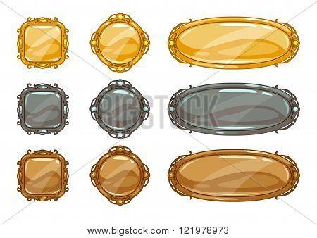 Cartoon vector metallic buttons set