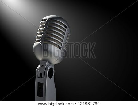 Vintage microphone on black background with highlights