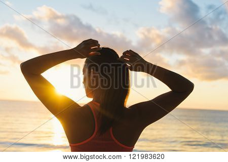 Fitness Woman Ready For Summer Sunrise Beach Workout