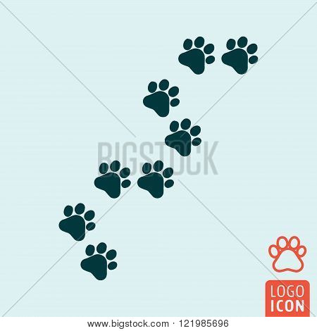 Cat paw icon. Cat paw symbol. Cat trail icon isolated. Animal print icon. Vector illustration