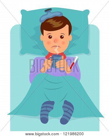 Sick man lies and drinks hot drink. Flu symptoms, fever, pain, malaise