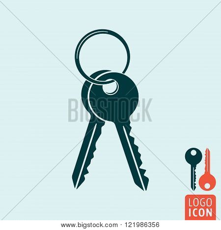 Key icon. Key logo. Key symbol. Bunch of keys icon isolated. Vector illustration