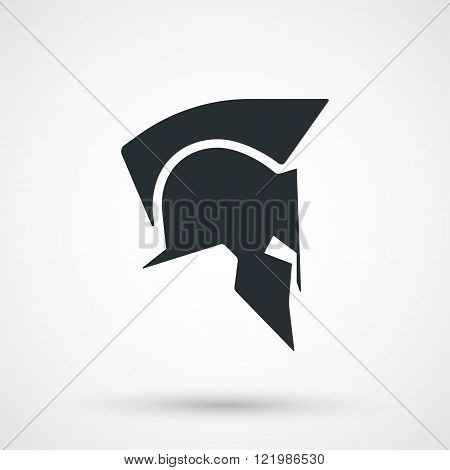 Spartan helmet icon isolated. Roman or greek helmet silhouette. Antiques helmet for head protection soldier. Vector illustration.