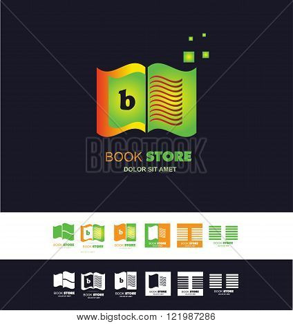 Vector company logo icon element template book bookstore library open book alphabet letter b page