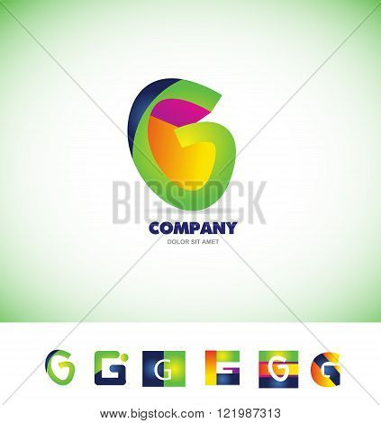 Vector company logo icon element template alphabet letter g colors
