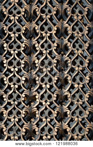 Decorative wooden carved teak grate. Myanmar (Burma)