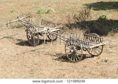 Two wooden carts for bulls. Myanmar ( Burma )