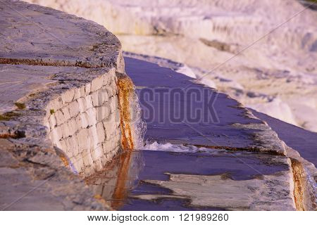 Spring Water Pouring From Channel At Pamukkale