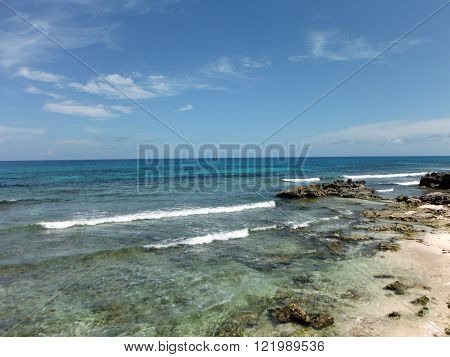 The rocky shore on the east side of the Mexican Isla de Mujeres (Island of Women) near Cancun.