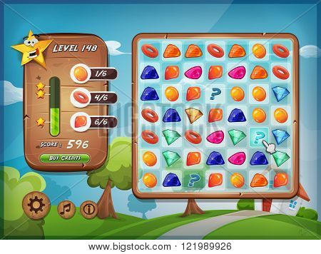 Illustration of a funny graphic example of switcher or clicker game interface design in cartoon style with grid buttons icons status bar over spring landscape with house for tablet pc