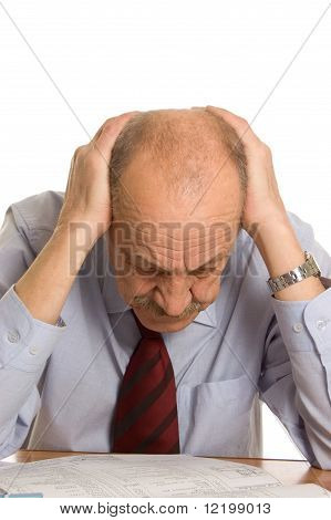 Businessman Keeps For A Head Isolated