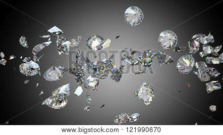 Broken And Cracked Diamonds Or Gemstones