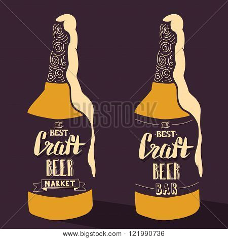 Vintage craft beer brewery design. Vector typography illustration. Hand drawn typography poster poster