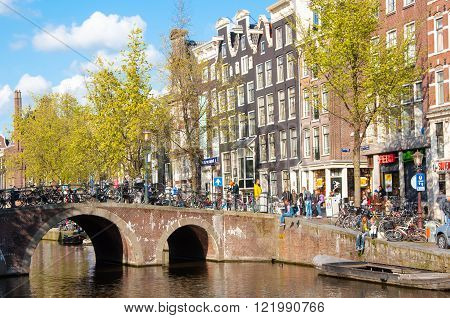 Amsterdam-April 30: Red light district crowd of tourists enjoy sightseeing on April 302015 the Netherlands.