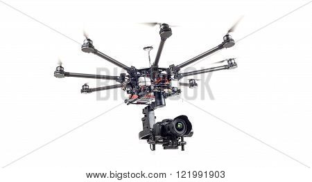 Copter closeup isolated on a white background. The aircraft with a raised chassis. The professional copter. poster