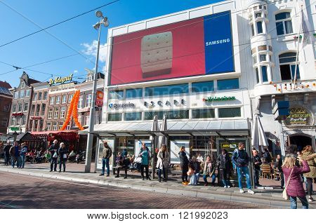 Amsterdam-April 30: Escape nightclub on Rembrandtplein on April 30 2015 the Netherlands. Escape has a legendary 25 year long history as one of the most popular nightlife venues in Amsterdam.