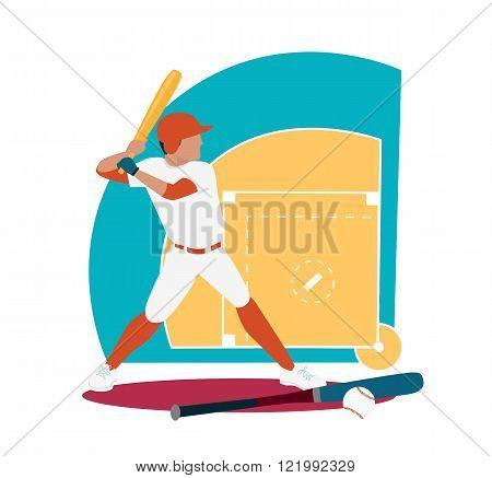 Baseball Sport Concept Icon Flat Design