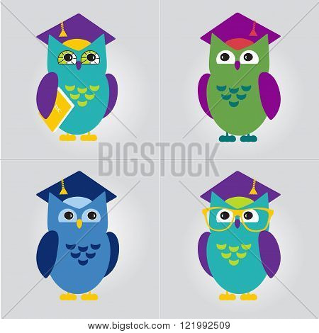 Owl in Graduate Hat vector illustration set. Educational icon template set. School pre-school after-school kid activities back to school book club or library concept. Sample text. Layered editable