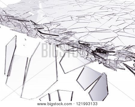 Splitted Or Cracked Glass On White