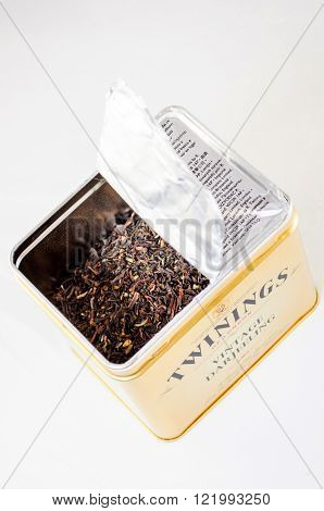 FRANKFURT GERMANY - FEB 10 2010: Twinnings Vintage Darjeeling opened tea box on white background. Twinings is an English marketer of tea based in Andover Hampshire. The brand is owned by Associated British Foods. It holds the world's oldest continually-us