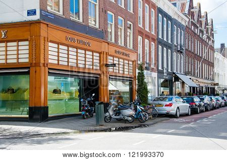 AMSTERDAM-APRIL 30: Louis Vuitton store on the P.C.Hooftstraat shopping street on April 30,2015 the Netherlands. The French fashion house founded in 1854 by Louis Vuitton.