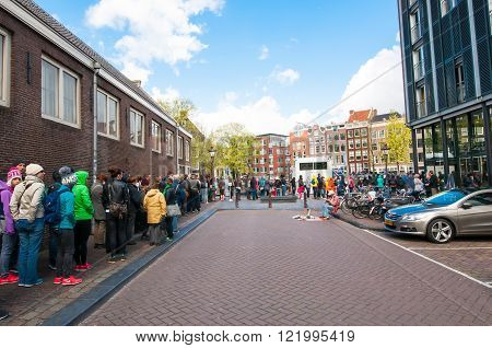AMSTERDAM-APRIL 30: Ticket-queue to the Anne Frank House Museum on April 302015.The Anne Frank House Museum is one of Amsterdam's most popular and important museums opened in 1960.