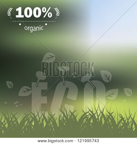Green background with organic sign could be used as template for healthy products label