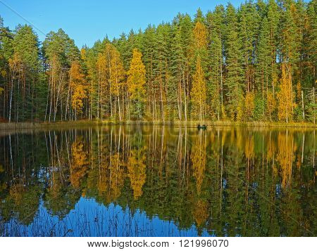 autumn colors reflected on the water of a finnish lake
