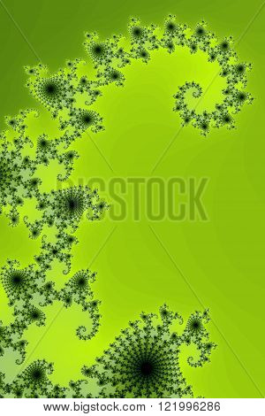 Bright fractal background image with green colors.