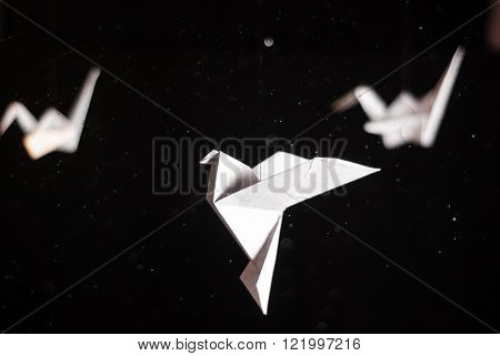 Origami crane and a dove soaring on a dark background