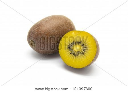 Gold kiwifruits on a white isolated background