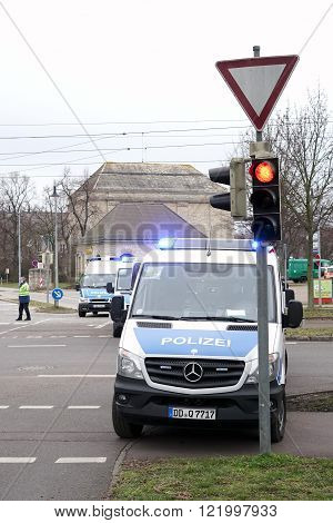 MAGDEBURG , GERMANY - MARCH 05, 2016: roadblock by the police after a football match of 1.FC Magdeburg against FC Hansa Rostock in Magdeburg