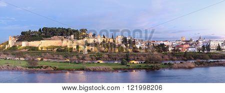 Panoramic Ancient arabic fortress Badajoz Extremadura Spain