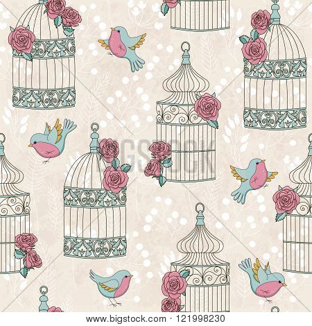 Vector seamless pattern with birds birdcages and roses. Vintage romantic illustration. Perfect for invitations, manufacture wrapping paper, textile, wedding and web design.