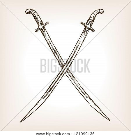 Crossed sabres hand drawn sketch style vector