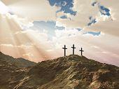three cross on Calvary hill poster