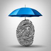 Identification protection and ID fraud safety as an umbrella protecting a fingerprint or finger print icon as an identity security symbol and consumer information guard. poster