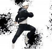 Hip Hop dancer jumping, over abstract splash background poster