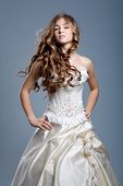 Slim beautiful woman with long hair wearing luxurious wedding dress over gray studio background poster