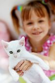 Portrait of adorable child with kitten poster