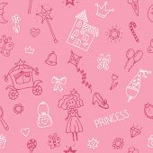 Hand drawn seamless pattern with princess girl doodle design elements. Sketchy fairy tale princess on pink background. Vector illustration poster