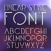 Vector linear font - simple and minimalistic alphabet in line style. Cosmic style. poster