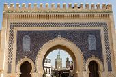 the Bab Bou Jeloud entrance to the ancient medina of Fes, Morocco poster