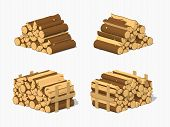 Firewood stacked in piles. 3D lowpoly isometric vector illustration. The set of objects isolated against the white background and shown from different sides poster